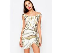 Karoline Kleid in Metallic Weiß
