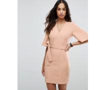Schlichtes Mini-Kleid in Wickeloptik mit Schleifengürtel Braun