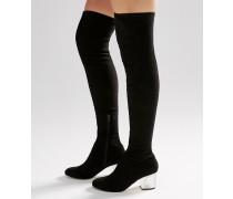 KENTUCKY Overknee-Stiefel mit durchsichtigem Absatz Schwarz