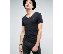 T-Shirt mit U-Ausschnitt Schwarz