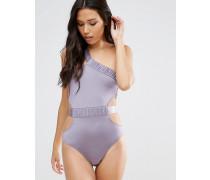 Glamouröser Badeanzug mit One-Shoulder-Träger Violett