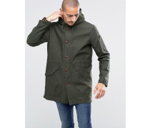 Leichter Fishtail-Parka in Khaki Grün