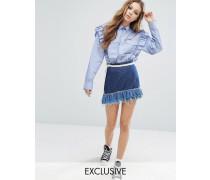 Jeans-Minirock im Vintage-Look mit Kontrastrüschen Blau