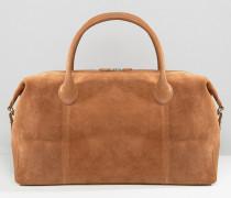 Hellbraune Reisetasche aus Leder und Wildleder Bronze