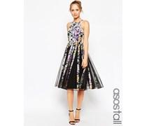 Dunkel geblümtes Kleid aus Netzstoff mit ausgestelltem Rock in Midi-Länge Mehrfarbig