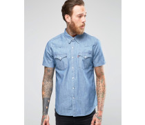 Levi's Barstow Schmales, kurzärmliges Western-Jeanshemd in heller Stone-Waschung Blau