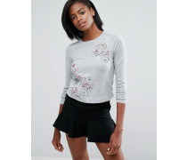 Pullover mit Blumenstickerei Grau