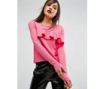 Pullover mit Rüschen auf der Vorderseite Rosa