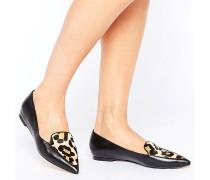 Austin Flache Schuhe mit Leoparden-Schuhblatt Schwarz