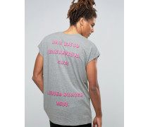 Oversize-T-Shirt mit erhabenem San Diego-Rückenprint Blau