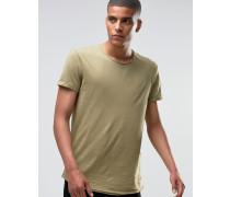Lang geschnittenes T-Shirt mit ungesäumter Kante Grün