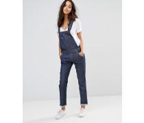 Gerade geschnittene Jeans-Latzhose Blau
