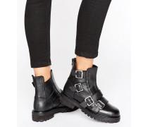 Klobige, flache Stiefel mit Schnallen Schwarz