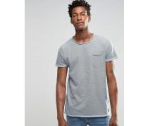 Solid T-Shirt mit Nadelstreifen Blau