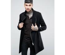 Mantel mit asymmetrischem Reißverschluss Schwarz