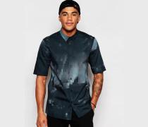 Black Hemd mit Pixel-Print mit halblangen Ärmeln, reguläre Passform Schwarz