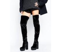 KEATS Overknee-Stiefel aus Samt mit Plateausohle Schwarz