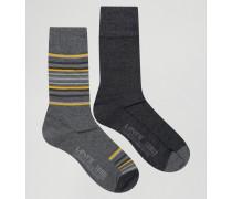 Levi's Schwarze Socken im 2er-Set mit Streifen Schwarz