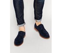 Derby-Schuhe in marineblauer Wildlederoptik Marineblau