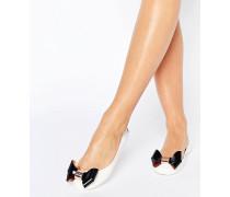 Faiyte Jelly-Schuhe in Cremeweiß/Schwarz mit Zierschleife Cremeweiß