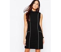 Kleid mit Ziernähten Schwarz