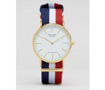 Uhr mit gestreiftem Canvas-Armband und weißem Zifferblatt Mehrfarbig