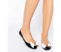 Faiyte Jelly-Schuhe in Schwarz/Cremeweiß mit Zierschleife Schwarz
