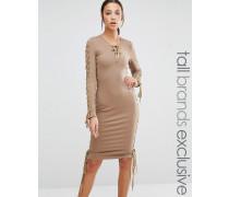 True Decadence Tall Tief ausgeschnittenes enges Bleistiftkleid mit Schnürung Dress Rosa