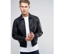 Schwarze Harrington-Jacke aus Kunstleder Schwarz
