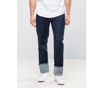 People Jeans mit Umschlag in blau abgesetzter Waschung Blau