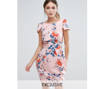 Kurzärmliges Kleid mit Blumenmuster Mehrfarbig