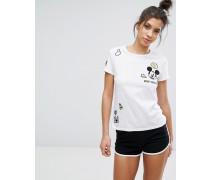 Mickey T-Shirt mit Aufnähern Weiß