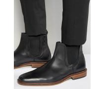 Chelsea-Stiefel aus schwarzem Leder Schwarz