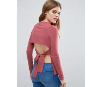 Pullover mit geschnürtem Rückenausschnitt Violett