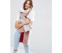 Übergroßer, flauschiger Schal mit Blockstreifen Beige