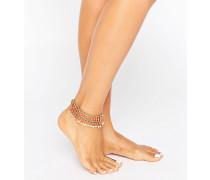 Fußkettchen mit Perlen & Scheibchen Gold