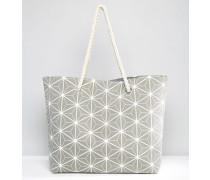 Strandtasche mit Prismenmuster Grau