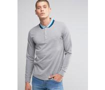 Italia Langärmliges Strick-Poloshirt Grau