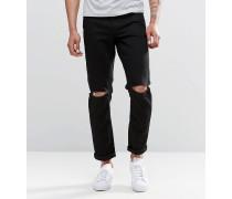Schmale Stretch-Jeans in Schwarz mit Knierissen Schwarz