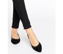 Flache, spitze Schuhe mit Bogenkante Schwarz