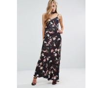 Maxi-Trägerkleid aus Satin mit Rosenprint Mehrfarbig