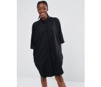 Übergroßes Hemdkleid aus Denim Schwarz