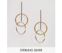 Doppelte Creolen aus Sterlingsilber mit Goldbeschichtung Gold