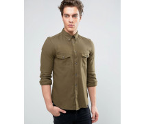 Schmal geschnittenes Flanellhemd mit doppeltkarierter Tasche Grün