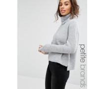 Lässiger Pullover mit Wasserfallausschnitt Grau