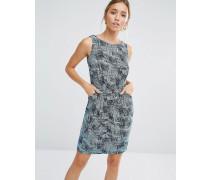 Closet Kurzes Kleid mit Linienprint in Blau Blau