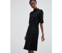 Hochgeschlossenes Kleid mit Spitze auf der Vorderseite Schwarz