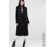 Langer, zweireihiger Mantel in schmaler Passform Schwarz
