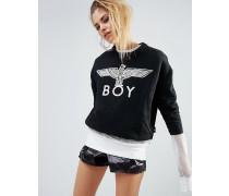 Sweatshirt mit 'Eagle V ' Einsatz Schwarz