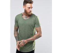T-Shirt mit geformtem Saum in Hillside grün meliert Grün